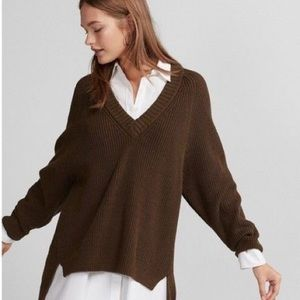 Express Olive Green Ribbed Oversized Sweater
